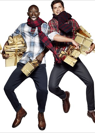 A very happy Christmas: These models look excited about the prospect of the festive season