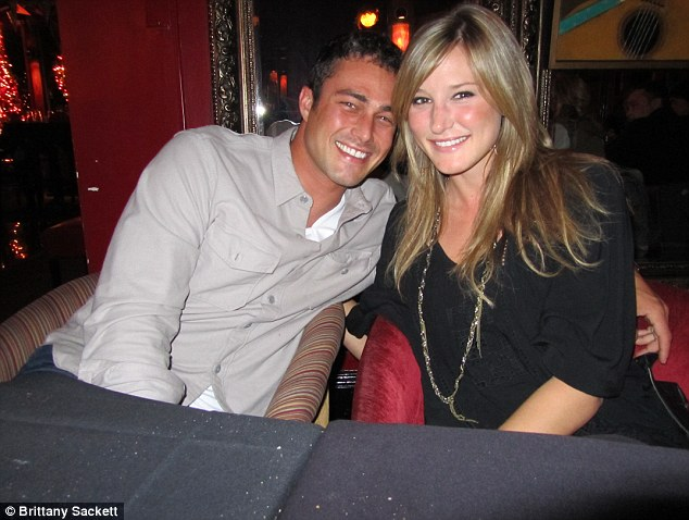 Sweet nothings: Brittany Sackett was in her bed when she answered a late night cell phone call from her boyfriend, Taylor Kinney.  Instead