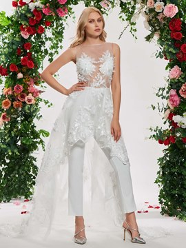 Ericdress Appliques Beach Wedding Jumpsuits with Train
