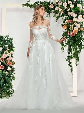 Ericdress 3/4 Sleeves Lace Off-The-Shoulder Wedding Dress