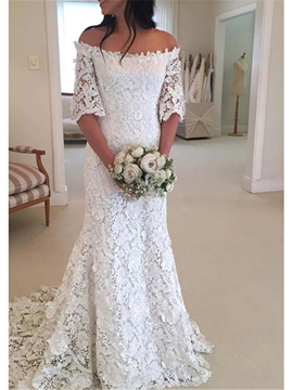 Ericdress Off-The-Shoulder Half Sleeves Lace Wedding Dress