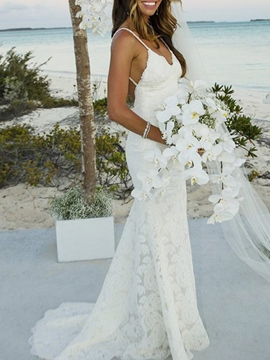 Ericdress Spaghetti Straps Backless Mermaid Lace Wedding Dress